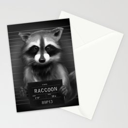 Raccoon Mugshot Stationery Cards
