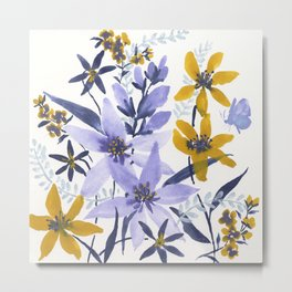 Blue and Yellow Flowers #3 Metal Print
