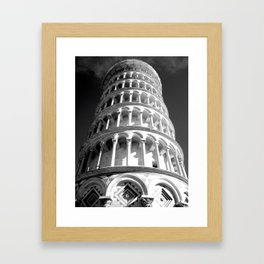 Leaning Tower of Pisa black and white Framed Art Print