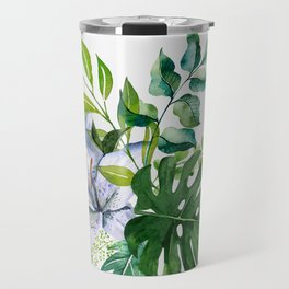 Flower and Leaves Travel Mug