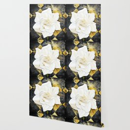 Aged Art Deco Gardenia Floral Art Wallpaper