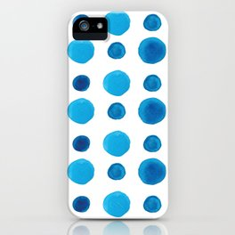 Watercolor blue dots iPhone Case