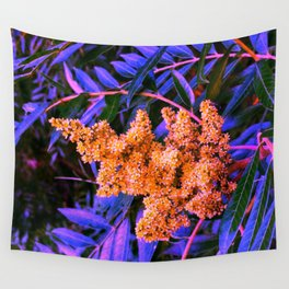 Blue and Gold Sideways Sumac Wall Tapestry