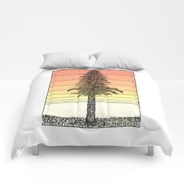 Coastal Redwood Sunset Sketch Comforters