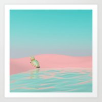pinapple Art Prints featuring Pinapple Oasis by PASTELAE