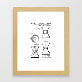 Chemex Coffee Maker - Original Patent/Blueprint Artwork  Framed Art Print