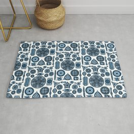 Ernst Haeckel Diatomea Diatoms in Navy Blue Rug