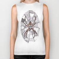 spider Biker Tanks featuring Spider by Laura Maxwell