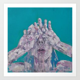 Portrait of a Woman on Blue Art Print