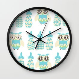 Owls and pineapples Wall Clock