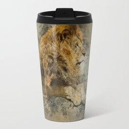 Lion on the rocks Travel Mug