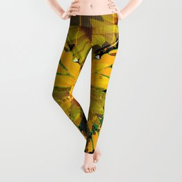SUNFLOWER BOTANICALS YELLOW MONARCH BUTTERFLY Leggings