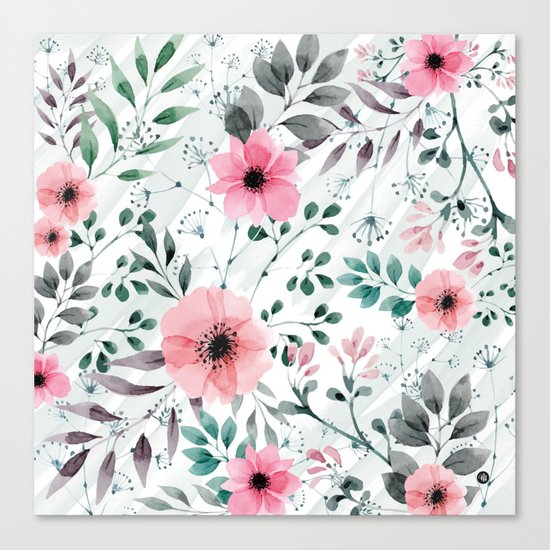 Illustration watercolor flowers and plants Canvas Print