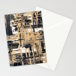Black and Gold abstract painting Stationery Cards