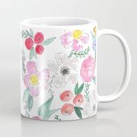 jenna kutcher Mugs featuring Floral Peony and Rose Watercolor Print  by Jenna Kutcher