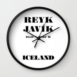 Reykjavík, Iceland Coordinates - Typography City Print Wall Clock