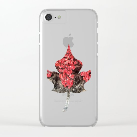 Red ivy leaves autumn stone wall Clear iPhone Case