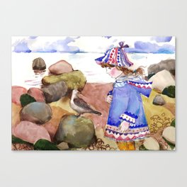 Girl and Gull by the Gulf. Canvas Print
