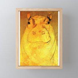 Golden Hippo Framed Mini Art Print