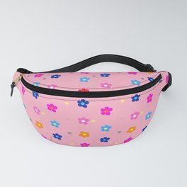 Colorful Floral Pattern on light Pink Background Fanny Pack