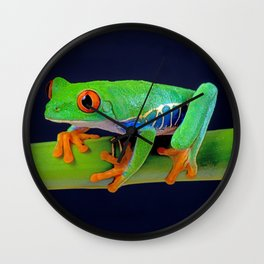 TREE FROG ON BAMBOO Wall Clock