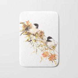 Chickadee bird art, design, chickadees artwork Bath Mat