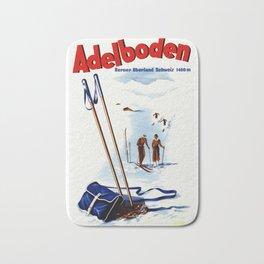 Vintage Adelboden Switzerland Ski Travel Bath Mat