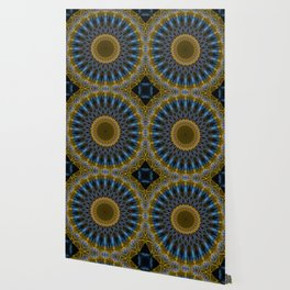Mandala in golden and blue tones Wallpaper