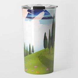 Cartoon Mountain landscape. Travel Mug