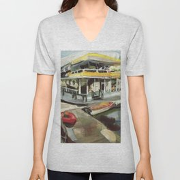 Capt. Carl W. Bolender sits abroad the S.S. Hurricane Gloria - Long Wharf, Newport Unisex V-Neck