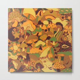 Magical Mushroom World in Earthy Ochre Metal Print