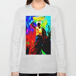African Lady Carrying Fruit, Abstract Print Long Sleeve T-shirt
