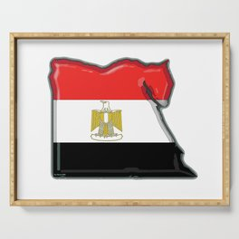 Egypt Map with Egyptian Flag Serving Tray