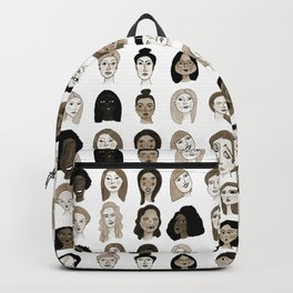 Women faces in sepia palette Backpack