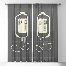 Coffee Transfusion - Black Sheer Curtain