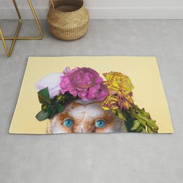 Lady Owl with Head Flowers Bouquet Rug