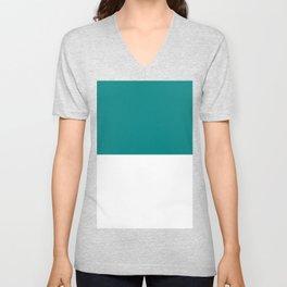 White and Dark Cyan Horizontal Halves Unisex V-Neck