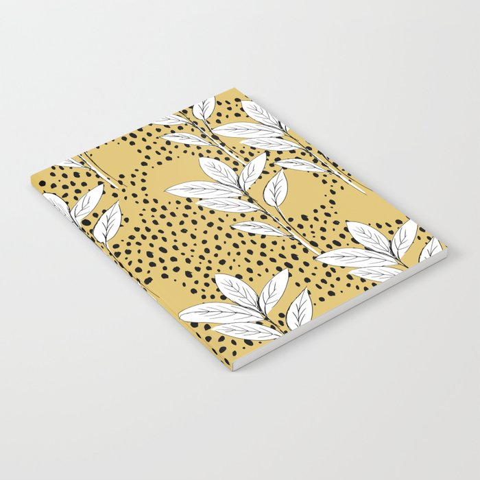 Summer leaves fall is coming garden and raindrops ochre yellow Notebook
