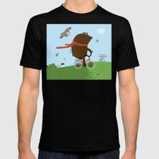 The Bear goes to the City Black MEDIUM Mens Fitted Tee
