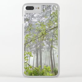Foggy morning into the dream forest Clear iPhone Case