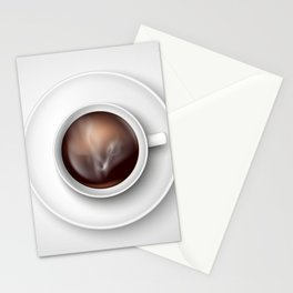 cup of coffee on a white background Stationery Cards