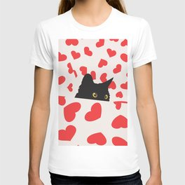 Black Cat Hiding in the Hearts T-shirt