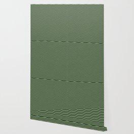 Dark Forest Green Chevron Zigzag Stripes Wallpaper