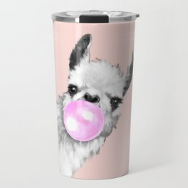 Bubble Gum Black and White Sneaky Llama in Pink Travel Mug
