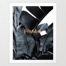 Tropical paradise - charcoal copper Art Print