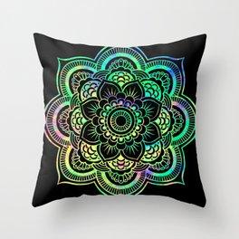 Neon Psychedelic Mandala Throw Pillow