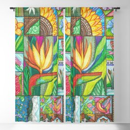 Bird of Paradise Quilt Square Note Blackout Curtain