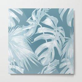 Teal Blue Tropical Palm Leaves Metal Print