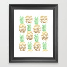 24K Gold Pineapples Framed Art Print