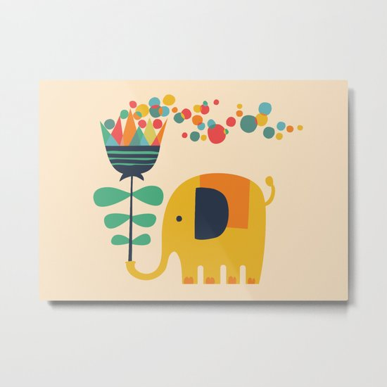 Elephant with giant flower Metal Print